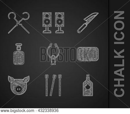Set Meat Tongs, Matches, Tabasco Sauce, Barbecue, Pig, Sauce Bottle, Knife And Bbq Skewers Icon. Vec