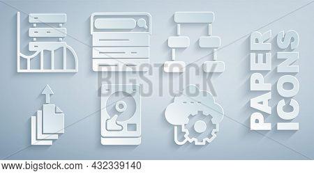 Set Hard Disk Drive Hdd, Hierarchy Organogram Chart, Data Export, Cloud Technology Data Transfer, Se