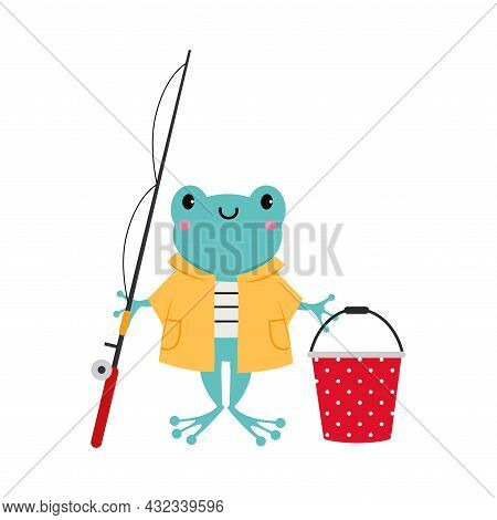 Cute Frog As Forest Animal In Coat With Bucket And Fishing Rod Vector Illustration