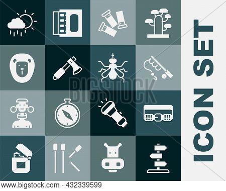 Set Road Traffic Sign, Hunting Cartridge Belt, Fishing Rod, Cartridges, Wooden Axe, Wild Lion, Cloud
