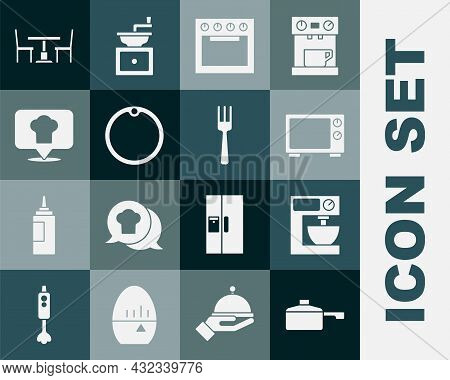 Set Frying Pan, Electric Mixer, Microwave Oven, Oven, Cutting Board, Chef Hat With Location, Wooden