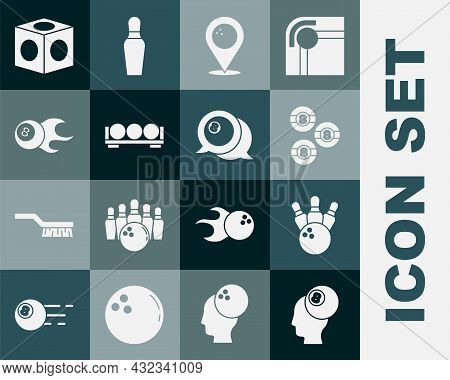 Set Billiard Ball, Bowling Pin And, Location With Bowling, Balls Stand, Chalk And Icon. Vector