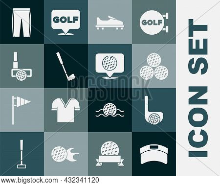 Set Sun Visor Cap, Golf Club With Ball, Shoe, Pants And Label Icon. Vector