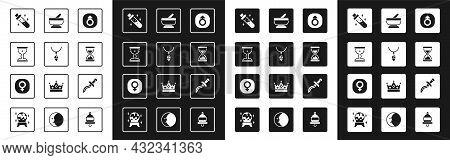 Set Mars, Necklace With Crystal, Medieval Goblet, Bottle Potion, Old Hourglass Sand, Mortar Pestle,