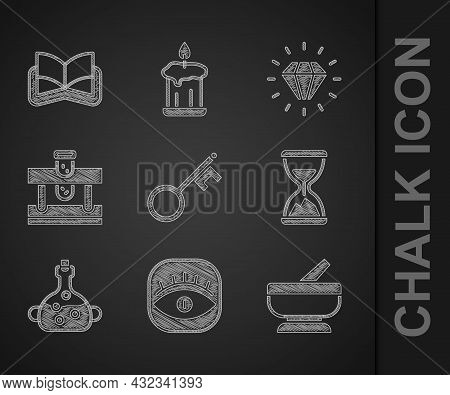 Set Old Key, Masons, Mortar And Pestle, Hourglass With Sand, Poison In Bottle, Bottle Potion, Diamon