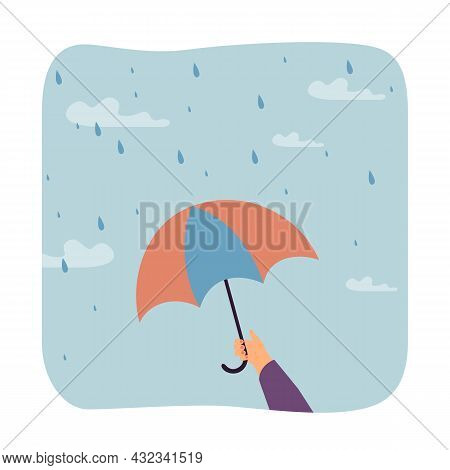 Hand With Painted Nails Holding Umbrella In Rain. Protection From Getting Wet Flat Vector Illustrati