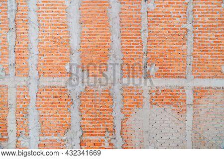 Photograph Of An Orange Brick Wall With A Digital Camera, Brick Wall, And Cement Texture, Brick Wall