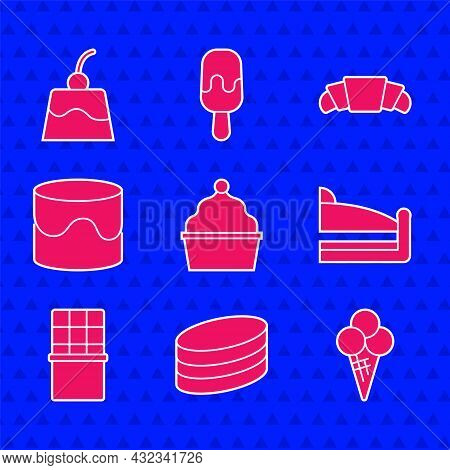 Set Cake, Brownie Chocolate Cake, Ice Cream In Waffle Cone, Piece Of, Chocolate Bar, Croissant And P