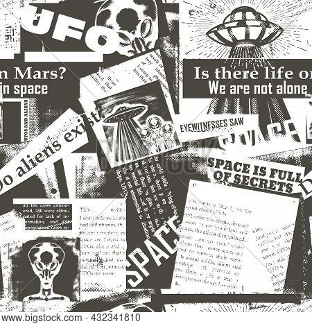Vintage Seamless Pattern With A Collage Of Newspaper Clippings About Ufos And Aliens. Background Wit