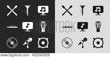 Set Drum Sticks, And Drum, Music Note, Tone, Vinyl Disk, Microphone, Stereo Speaker, And Icon. Vecto