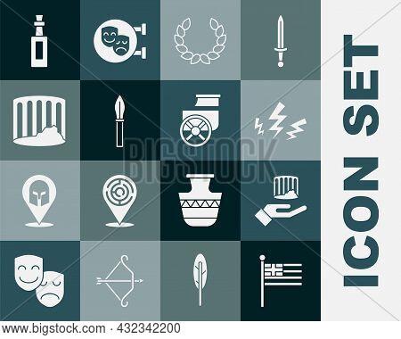 Set Greece National Flag, Ancient Column, Zeus, Laurel Wreath, Medieval Spear, Bottle Of Olive Oil A