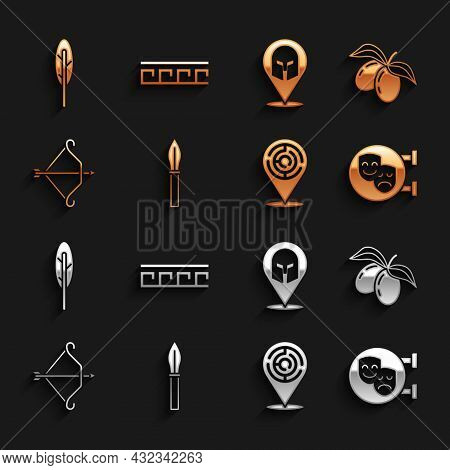 Set Medieval Spear, Olives Branch, Comedy And Tragedy Masks, Minotaur Labyrinth, Bow With Arrow, Gre