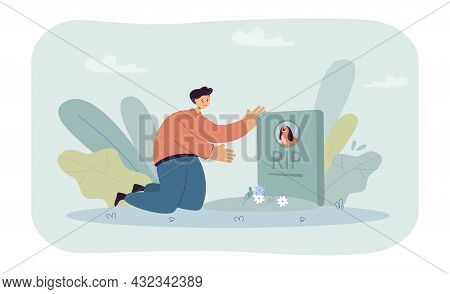 Sad Cartoon Man Putting Flowers On Grave Of Dog In Pet Cemetery. Male Character Sitting In Front Of