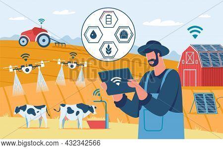 Smart Farming, Innovative Farming Technology, Agricultural Drones. Ecological Solar Powered Farm, Ag