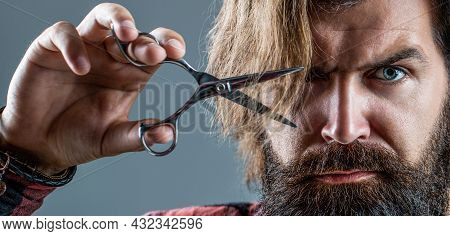 Male In Barbershop, Haircut, Shaving. Bearded Man Isolated On Gray Background. Mans Haircut In Barbe