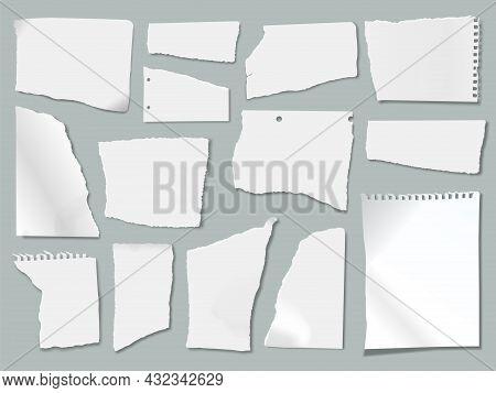Ripped Paper Scraps With Torn Edges, Ragged Papers Pieces. Realistic White Crumpled Notebook Sheets,