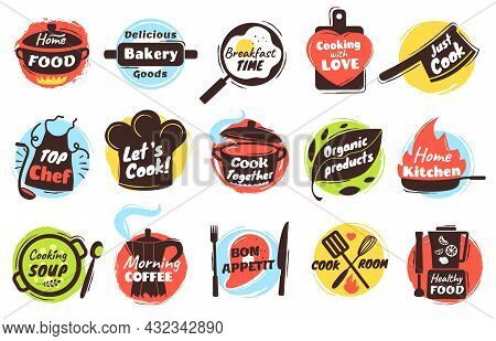 Cooking Lettering Logo, Kitchen Utensils Labels With Quotes. Culinary Doodles, Cook Badges For Stree