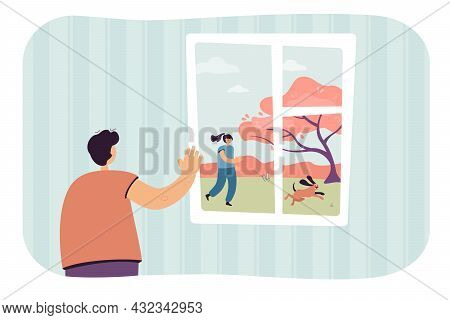 Cartoon Boy In Front Of Window Waving To Friend Outside. Kid Watching Girl Running With Dog Flat Vec