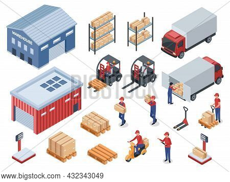 Isometric Logistic Delivery, Distribution Warehouse, Transportation Logistics. Courier Or Delivery M