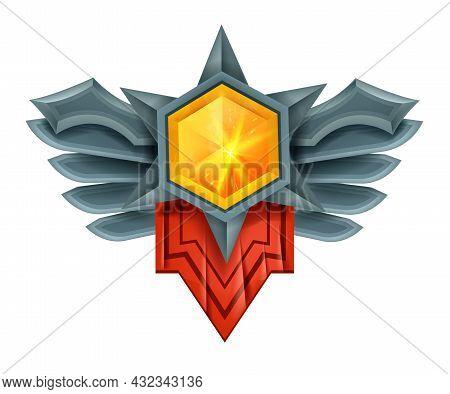 Game Gem Vector Winner Badge, Crystal Diamond Ui Jewel Medal, Victory Stone Trophy Award, Wings. Rpg
