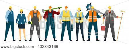 Construction Workers Standing Together, Builders And House Repair Team. Professional Engineer, Archi