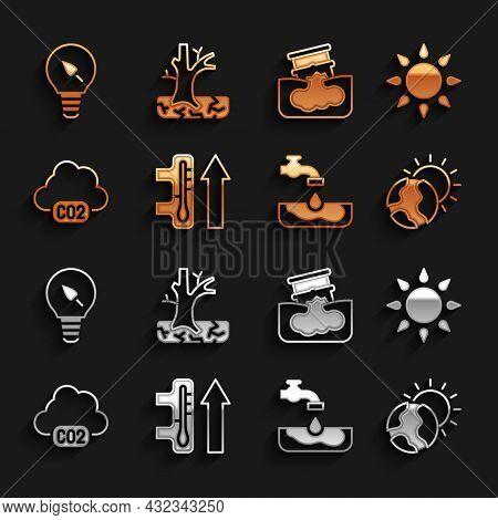 Set Global Warming, Sun, Water Problem, Co2 Emissions Cloud, Barrel Oil Leak, Light Bulb With Leaf A