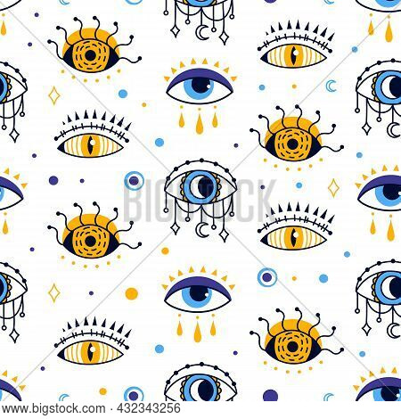 Mystic Evil Eye Seamless Pattern, Esoteric Abstract Background. Providence Or Protection Magic Symbo