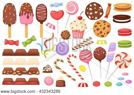 Cartoon Candies, Sweets, Desserts, Lollipops, Chocolate. Candy, Cupcake, Macaron, Ice Cream, Jelly W