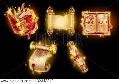 Old Parchment Vector Magic Illustration, Game Papyrus Scroll Paper, Witchcraft Spell Book, Glow Ui S