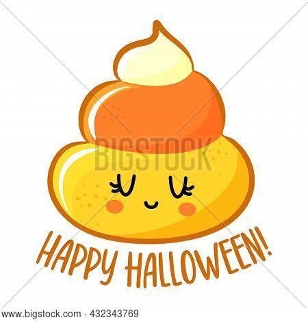 Happy Halloween - Funny Illustration In Candy Corn Costume. Handmade Sticker Print. Illustration Wit