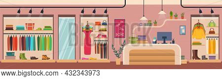 Women Clothes Store, Fashion Boutique Interior. Female Apparel And Accessories Retail Clothing Shop