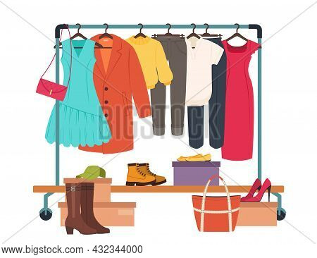 Clothes Hanging On Rack, Garment Rail With Casual Women Clothing. Fashion Girl Wardrobe, Female Clot