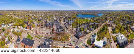 Arlington Historic Town Center Aerial View Panorama On Massachusetts Avenue At Mystic Street And Bro