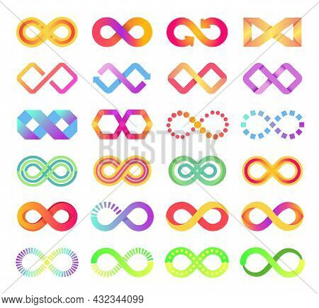 Color Infinity Icon, Infinite Loop Symbol Logo. Colorful Endless Arrow Chains Sign, Abstract Eternit