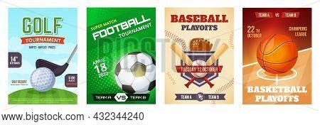 Sports Game Tournament Poster, Basketball Playoff Announcement Flyer. Golf, Football, Baseball Sport