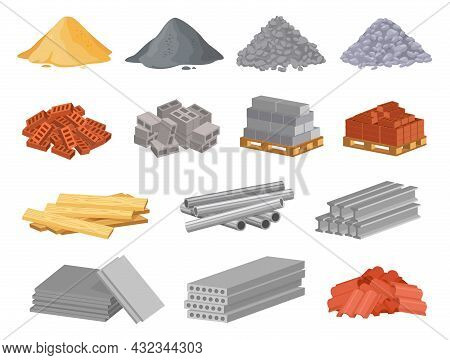 Cartoon Construction Building Materials, Sand And Gravel Pile. Brick Stacks, Metal Pipes, Cement. Bu