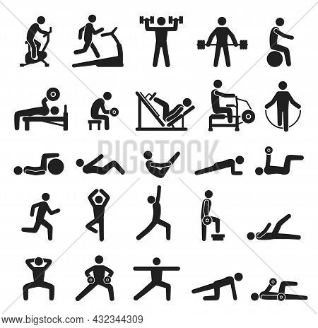 Fitness Exercise Icons, Sport Workout Pictograms. People Doing Yoga, Exercising, Jogging. Various Sp
