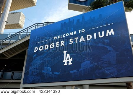 LOS ANGELES, CALIFORNIA, 29 JUNE 2021: Closeup of the Welcome sign in the Outfield Plaza of Dodger Stadium.