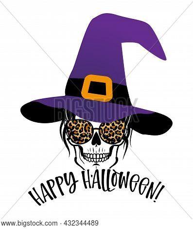 Happy Halloween - Beautiful Woman Skull With Cheetah Print Aviator Sunglasses And Witch Hat. Mom Sku