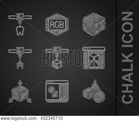 Set 3d Printer Cube, Software, Basic Geometric Shapes, Isometric, House, And Tooth Icon. Vector