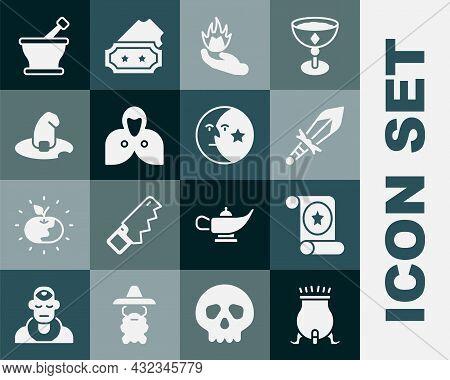 Set Witch Cauldron, Magic Scroll, Medieval Sword, Hand Holding Fire, Mantle, Cloak, Cape, Hat, Morta