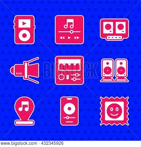 Set Drum Machine, Music Player, Lsd Acid Mark, Stereo Speaker, Note, Tone, Movie Spotlight, Dj Remot