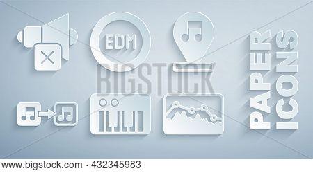 Set Music Synthesizer, Note, Tone, Wave Equalizer, Edm Electronic Dance Music And Speaker Mute Icon.