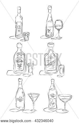 Bottle And Glass Rum, Tequila, Vodka, Wine, Martini, Vermouth Together In Hand Drawn Style. Restaura