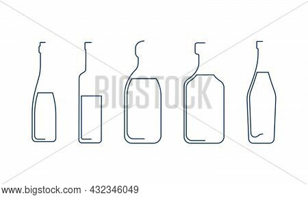 Bottle Continuous Line Tequila, Vodka, Vermouth, Rum And Wine In Linear Style On White Background. S