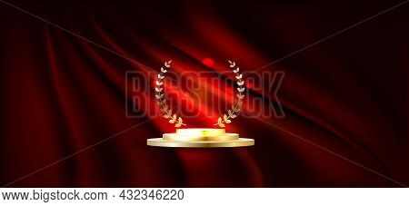 Golden Podium For First Place With Laurel Wreath. Gold Rank On Stage On Red Curtain Background.