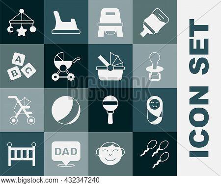 Set Sperm, Newborn Baby Infant Swaddled, Baby Dummy Pacifier, Potty, Stroller, Abc Blocks, Crib Hang