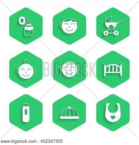Set Little Boy Head, Baby Hat, Bib, Crib Cradle Bed, Pregnancy Test, Stroller And Breast Pump Icon.