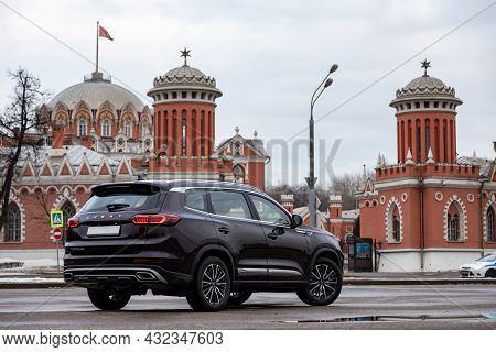 Moscow, Russia - March 18, 2020:  Back And Side View Of New Chineese Urban Family Suv Chery Tiggo 8