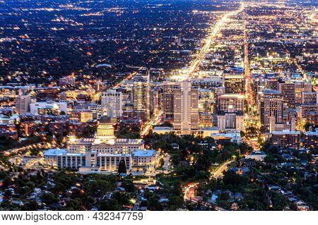 Salt Lake City, Utah, Usa - May 29, 2021: Skyline Of Salt Lake City Utah At Dusk With As The City Li